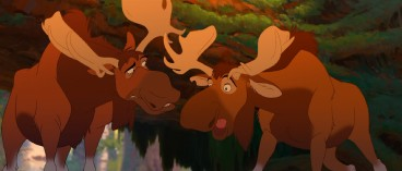 "Meet the comic relief of ""Brother Bear"": Canadian moose Tuke and Rutt, voiced by SCTV's Dave Thomas and Rick Moranis."