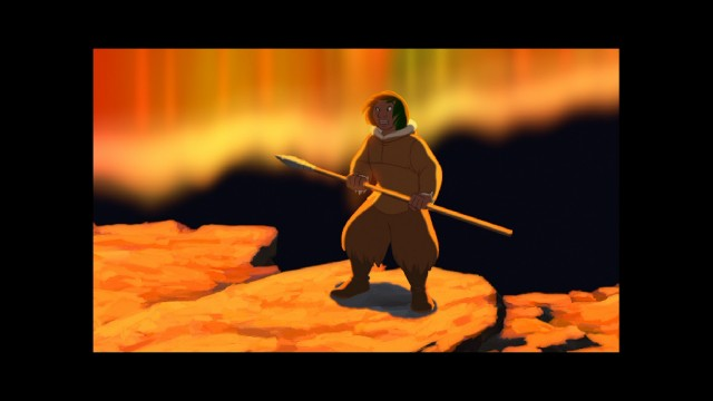 "Nearly the first-third of ""Brother Bear"" is presented like this, bordered on all four sides, in pillarboxed 1.73:1."