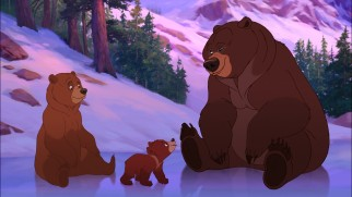 Kenai and Koda briefly check in with Tug, one of the original film's few characters to resurface.