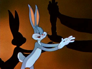 "Bugs Bunny prepares to accept his Oscar in ""What's Cookin' Doc?"" (1944)."