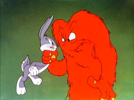 "The big red hairy monster known as Gossamer makes his debut in ""Hair-Raising Hare."""