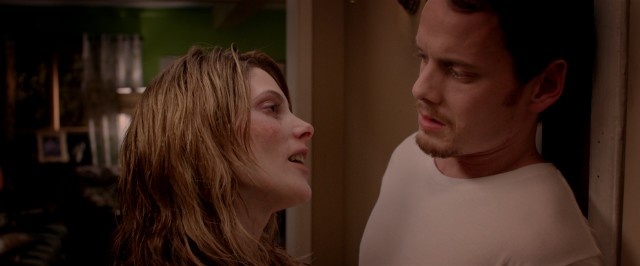 "Max (Anton Yelchin) is less than delighted to see his ex-girlfriend (Ashley Greene) back from the dead in ""Burying the Ex."""