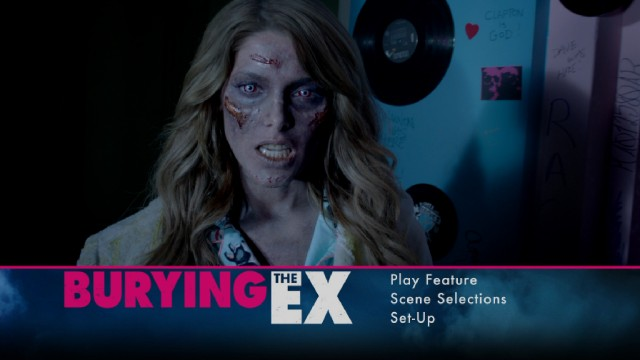 Evelyn (Ashley Greene) appears in an advanced stage of decomposition on the Burying the Ex Blu-ray's menu.