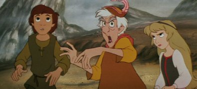 "Taran, Dallben, and Eilonwy stand up to the forces of darkness in ""The Black Cauldron."""