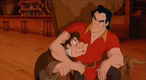 Gaston scowls in the company of his diminutive henchman LeFou.