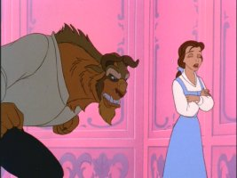 Beast growls at Belle for some reason or another.