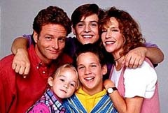 "Clockwise from Top Left: William Russ, Will Friedle, Betsy Randle, Ben Savage, and Lily Nicksay in a season one shot from ""Boy Meets World"", coming to DVD in August 2004."