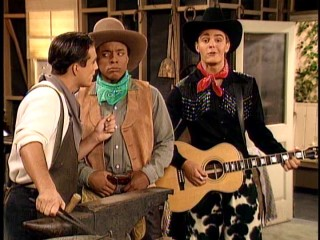 "Tony's (William James Jones) supposed love of westerns sends him and his friends back into the wild, wild West with Matt as minstrel in ""High Plains Dreamer."""