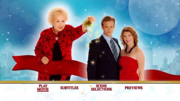 "Your options are limited to play movie, subtitles, scene selection, and previews on the festive ""Call Me Mrs. Miracle"" DVD main menu."
