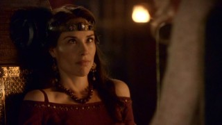 Claire Forlani provides a classic blooper reel staple -- the cross-eyed look -- in the Camelot outtakes.