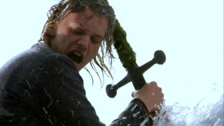"Young Arthur Pendragon (Jamie Campbell Bower) pulls the famed sword in the stone in the second episode of ""Camelot."""