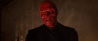 The Red Skull takes off his Hugo Weaving mask to reveal his true evil Red Skullery.