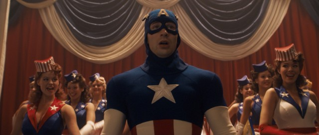 The first order of business for the transformed Captain America (Chris Evans) is to sell war bonds with dancing dames and an original Alan Menken song.