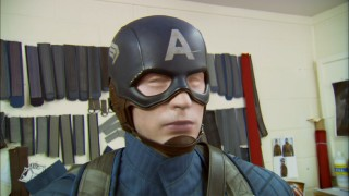 "Captain America's look is given much thought in ""Outfitting a Hero."" Look at all those strap colors considered on the wall!"