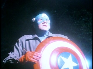 Captain America (Matt Salinger) does not glow, it only looks that way when Nazi light catches him at just the right angle.