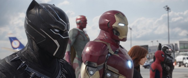 "Black Panther, The Vision, Iron Man, Black Widow, Spider-Man, and War Machine represent one side of ""Captain America: Civil War."""