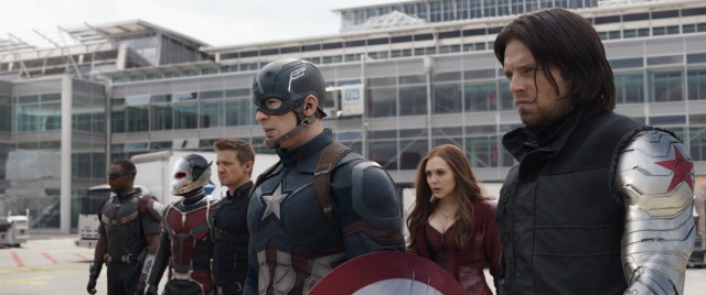 On the other side are Falcon, Ant-Man, Hawkeye, Captain America, Scarlet Witch, and the Winter Soldier.