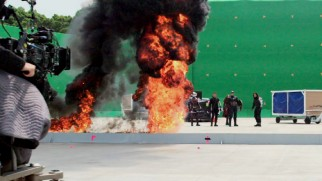Green screen and explosions on the set of Captain America: Civil War's superhero-packed standout sequence.