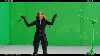 Scarlet Johansson laughs after fumbling an action in the gag reel.