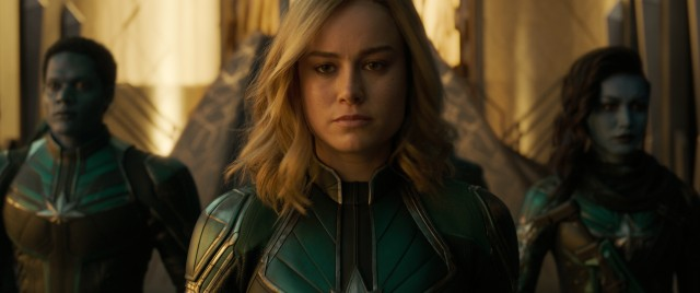 Fighting alongside Krees in a war against Skrulls, Vers (Brie Larson) sports a uniform different from the one that she will come to wear as Captain Marvel.