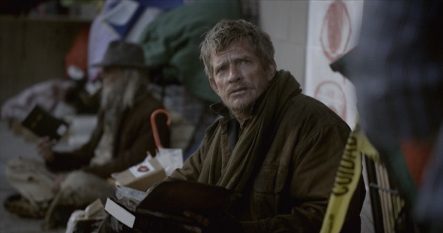 "Willie (Thomas Haden Church) gets rebuffed when trying to find someone to help him read cursive in ""Cardboard Boxer."""