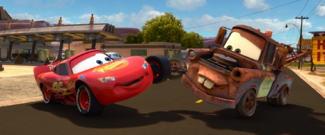 Upon his return to Radiator Springs, Lightning McQueen looks forward to a summer of best friend fun with Tow Mater.