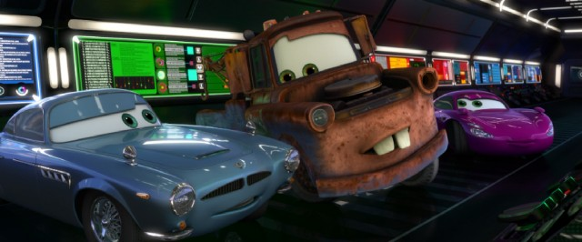 Mater fulfills the Wrong Man duties, as he teams with Finn McMissile and Holley Shiftwell for high-tech spy stunts.