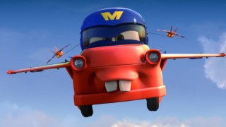 "Mater flies with the Falcon Hawks in the new Cars Toon short ""Air Mater."""