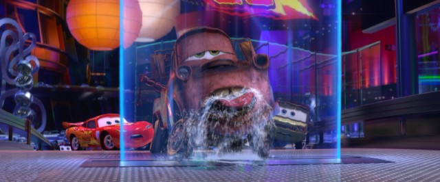 At a reception in Tokyo, Mater embarrasses Lightning McQueen with his Wasabi-fueled water wall licks.