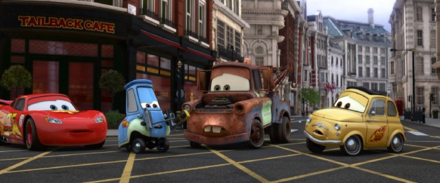 "Guido and Luigi try to disarm a bomb attached to Mater's hood in the London climax of ""Cars 2."""