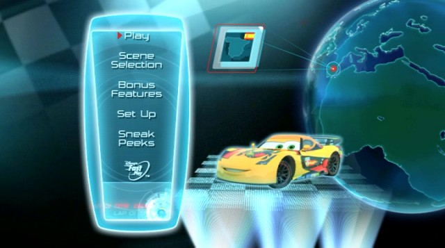 "Oh look, it's the yellow Spanish race car! The Blu-ray and DVD menu shows off the mostly unfamiliar cast of ""Cars 2"" with home countries designated."