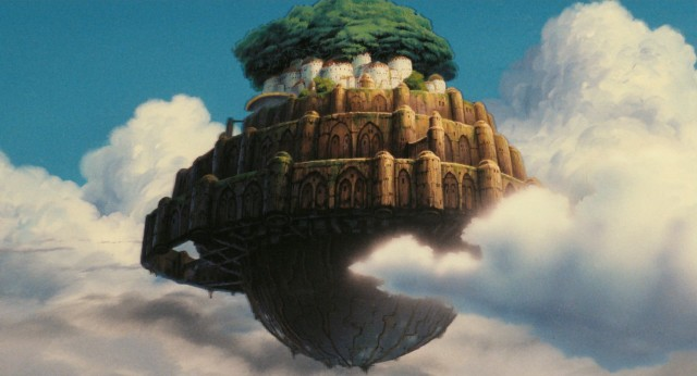 Laputa hangs in the clouds, like the floating city it is.
