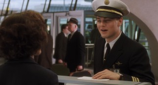 Teenager Frank Abagnale Jr. (Leonardo DiCaprio) fakes his way to being an airline co-pilot, among other things.
