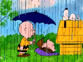 Charlie Brown is surprised to find Peppermint Patty staying in his guest house, a.k.a. Snoopy's doghouse.