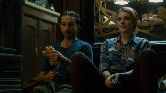 "Charlie (Shia LaBeouf) grabs a bite while Gabi (Evan Rachel Wood) fills him in on her situation in ""Charlie Countryman."""