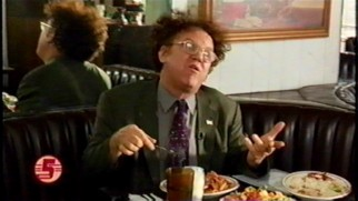 At Toad's restaurant, Dr. Steve Brule (John C. Reilly) tries a lot of food, some of which need to be cooled off with milk.