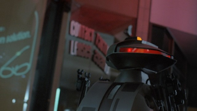 "The Protector 101 robot security guards of ""Chopping Mall"" take their duties to an extreme."