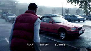 Steve (Michael B. Jordan) moves a red BMW with his mind on the bonus-less DVD's main menu.