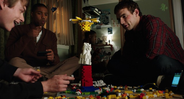 "Three teenaged boys (Dane DeHaan, Michael B. Jordan, and Alex Russell) use their newly-acquired telekinetic powers to play with Legos in ""Chronicle."""