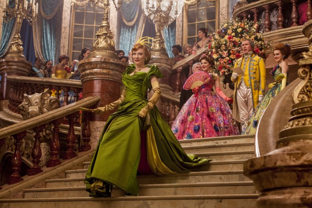 Lady Tremaine (Cate Blanchett) and her two daughters make a loud entrance at the royal ball.
