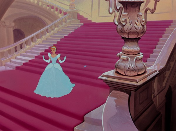 Cinderella fortuitously loses a glass slipper in her rushed getaway from the royal castle.