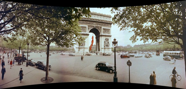 "The Arc de Triomphe is one of the Paris sights surveyed in the European segments of ""Cinerama Holiday."""