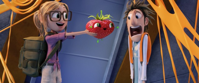 "Sam Sparks passes Barry the strawberry to Flint Lockwood in ""Cloudy with a Chance of Meatballs 2."""