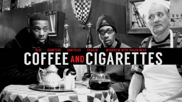 "The ""Coffee and Cigarettes"" Blu-ray menu doesn't offer a slew of things, but the shot of GZA, RZA, and Bill Murray is more than enough."