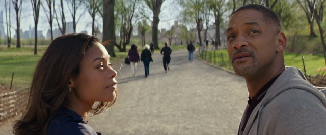 While on a walk through Central Park with grief therapist Madeline (Naomie Harris), Howard Inlet (Will Smith) looks off into the distance to see his three friends.