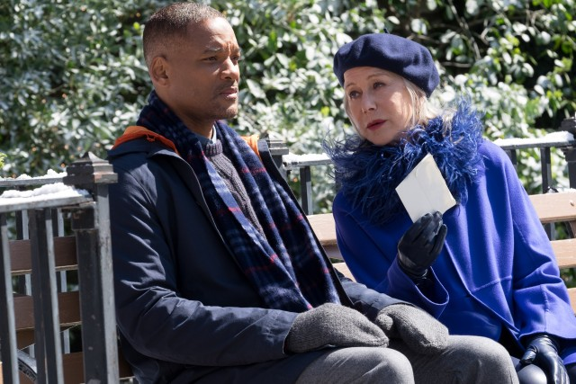 "In ""Collateral Beauty"", a grieving ad executive (Will Smith) gets visited by a woman claiming to be Death (Helen Mirren), who holds the letter he mailed to her."