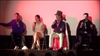 Scott Aukerman, Casey Wilson, Andrew Lloyd Webber (Paul F. Tompkins) and The Phantom (Thomas Lennon) resort to musical counting of seconds at the end of their CineFamily Musical Episode Talkback panel.