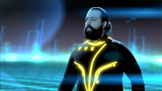 "Bandleader Reggie Watts goes to great lengths to read a tweet in a ""Tron""-inspired scene from Season 2's premiere."