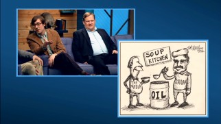 Tom Perdy (Mike Hanford) shows off his smart, funny oil-centric political cartoons to the bafflement of Andy Richter and everyone else.