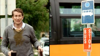 "A ""Sliding Doors"" scenario from the Andy Dick episode shows Scott's day going much better in the reality where he catches the bus."